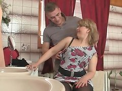 She sits onto son in law python and his cougar comes in