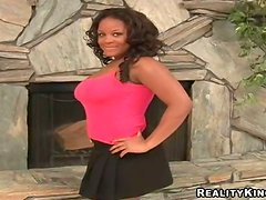 Busty ebony lust is getting a huge white cock by the chimney