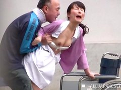 Wild Japanese nurse gets fucked by old man outdoors