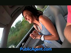 Playful brunette girl sucks a cock and gets fucked in a car