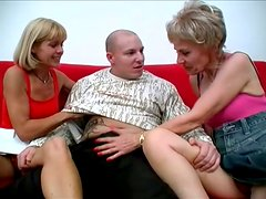 Two Sexy Mature Whores Share One Stiff Cock In This Threesome