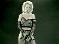 Vintage blonde strips for cam and and gets fucked doggy style