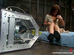 Holly Wellin rides a fucking machine and nearly swoons with pleasure