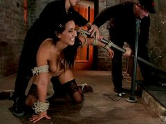 Brunette sex slave in stockings is being tied on the bar