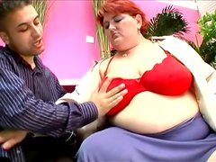 Obese redhead Hilda gets fucked in missionary position