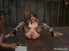 Toying and Strapon Fucking in BDSM LEsbian Bondage Session