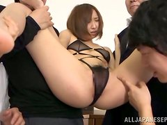 Kana Narimiya gets her pussy fingered and fucked by a few men