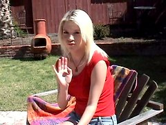 Summer day POV blowjob with a divine blond
