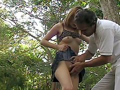 Sexy amateur girl gets fucked hard in a forest