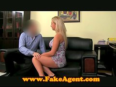 Busty blonde gives a titjob and gets fucked on a sofa