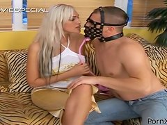 Stunning blonde girl gets fucked by a guy in mask and pees
