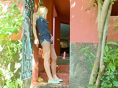 Tight Blonde Drills Her Hot Ass with a Toy On Her Porch