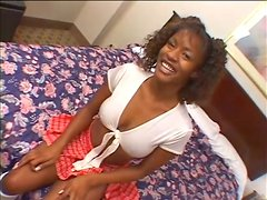 Sexy ebony siren gets naked and starts blowing that huge cock