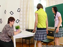 Old Female Teacher Is A Horny Lesbian That Take Advantage Of Her Teen Students