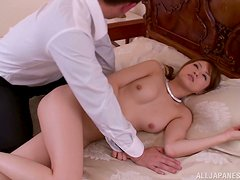 Akiho Yoshizaw has her bush drilled by a horny guy