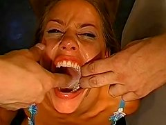 Three ladies are swallowing insanely big loads