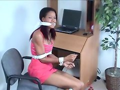 Cocoa damsels cloth gagged roped and tied Afro fetish sex star Erika Kane restrained