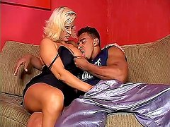 Busty Woman And Horny Shemale Sucking Huge Black Rod