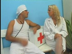 This nurse has a great shaved pussy and she likes to get it stuffed with cock
