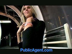 Slender blonde chick gets rammed at night in the street