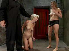 Chloe gets hogtied and suspended to be pinned with a strapon