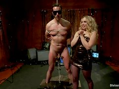Sadistic Aiden Starr toys a guy and tortures his cock