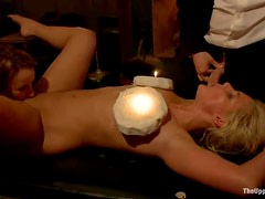 Oiled up bitches get tied up and fucked at the private party