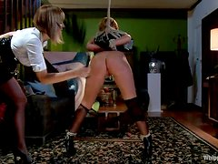 Burglar girl gets tied up and toyed hard by a girl