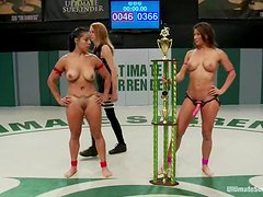 Ariel X and Izamar wrestle on tatami and bang in the locker room