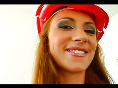 Horny firefighting hottie sucks on a guy's hose