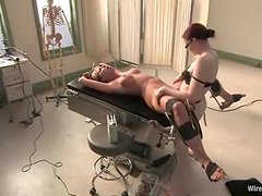 Naughty Doctor Strapon Fucks the Dominated Blonde in the Hospital