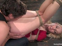 Tied up Samantha Sin gets fucked in her mouth and pussy