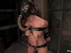 Girl in a gas mask on her head gets humiliated in femdom vid