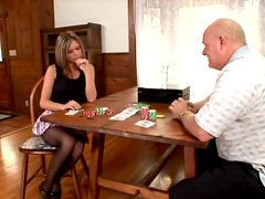 Hot girl in a miniskirt and stockings gives a blowjob to old man