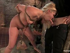 Curvy blondie is living through some insane pain