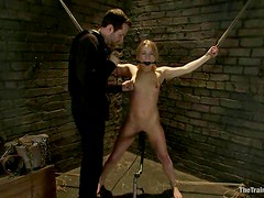 Sexy Jessie Cox gets bounded and face fucked by her master