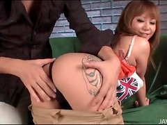 Sexy leg tattoo on finger fucked Japanese girl