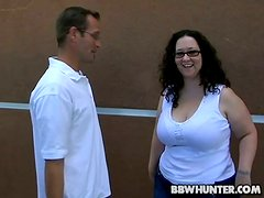 Dirty BBW In Glasses Fucks A Slim Dude For Some Money