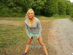 POV video with playful Veronika fucking a guy outdoors
