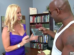 Playful Totaly Tabitha gets rammed by Black dude in an office