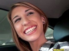 Hailey Davidson in the Car Sucking on a Hard Cock.
