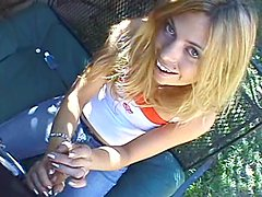 Nasty blonde gives a handjob to her BF in POV clip