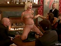 Chubby blondie is being tortured in the private group meeting
