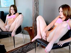 Short-haired babe Abby Paradise is touching her ass
