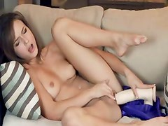 Morgan glamour trying brutal dildo