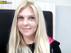 Blonde Amy drops on her knees to be face fucked