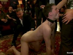 Dark-haired twink gets his ass smashed at a BDSM gay party