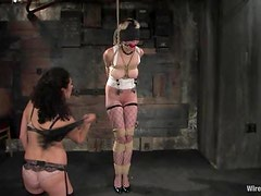 Spanking and Toying Tied Up Blonde Before Strapon Fuck in Lesbo BDSM