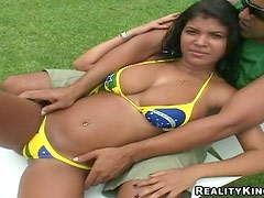 Hot Brazilian bitch gets fucked in the pussy