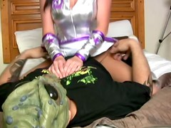 Hot brunette in silver costume shows her grinding skills to a bald dude
